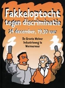 Poster van de fakkeloptocht in Wormerveer en Krommenie tegen discriminatie