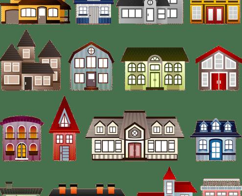 Tekening van een aantal huizen