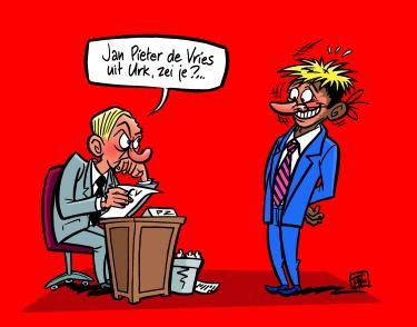 Cartoon van migrant die als 'De Vries uit Urk' solliciteert