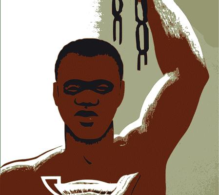 Een tot slaaf gemaakte die zijn ketens verbreekt