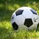Een voetbal in het gras
