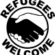 Sticker met de tekst 'Refugees welcome'