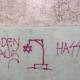 Antisemitische graffiti op een muur