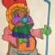 Een in allerlei kleuren gehulde Sinterklaas